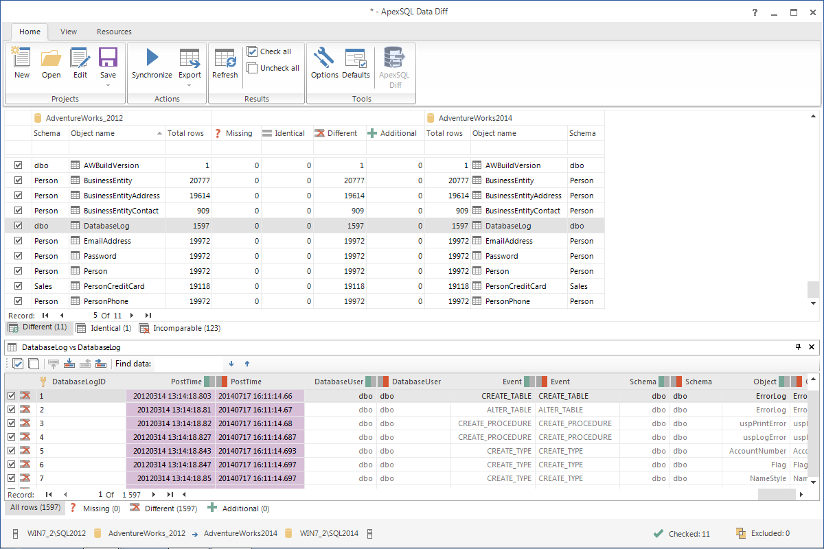 Click to view ApexSQL Data Diff screenshots