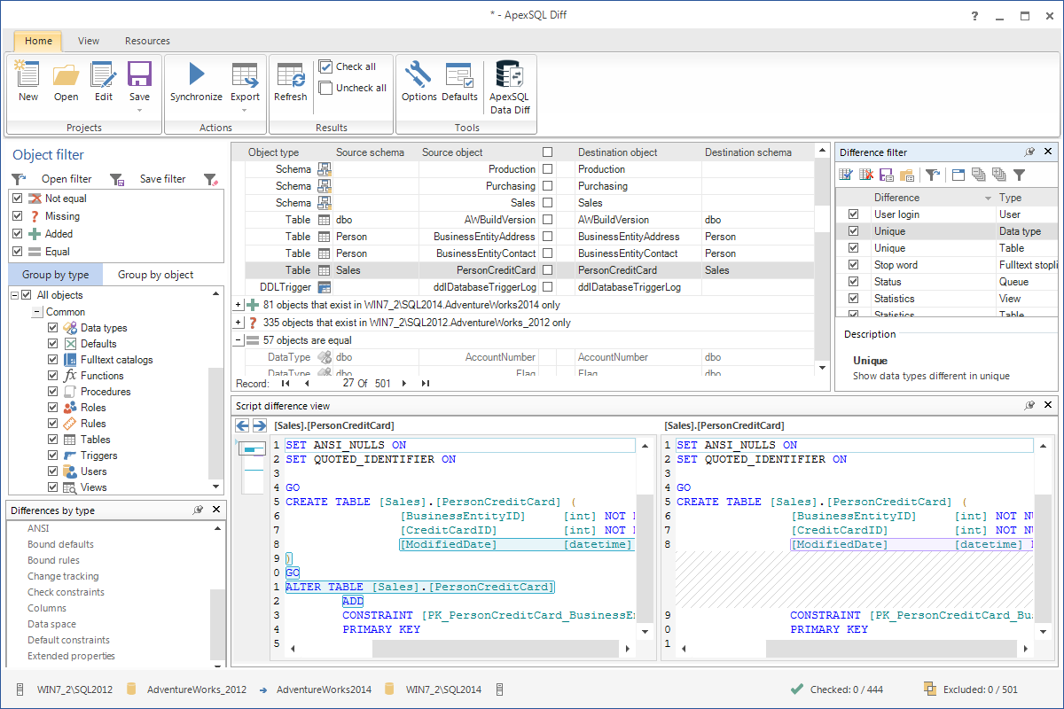 Apex SQL Diff is a tool for SQL Server schema comparison and synchronization