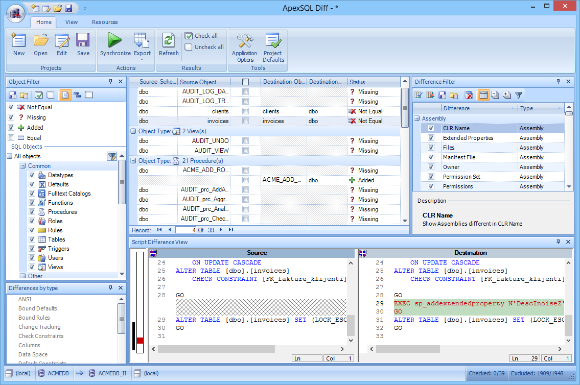 Apex SQL Diff is database comparison and synchronization tool for SQL server