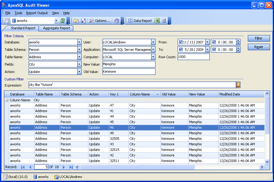 Apex SQL Audit Viewer Screen shot