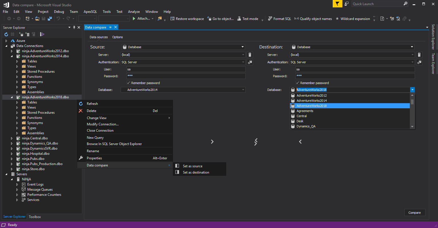 Launch a SQL data compare session directly from Visual Studio