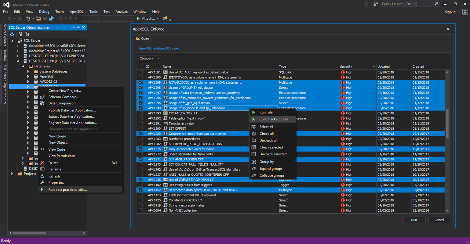 Run a best practices rulebase directly against a database without ever leaving Visual Studio